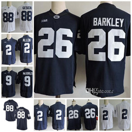 Wholesale White Colleges - NCAA Penn State Nittany Lions #26 Saquon Barkley 2 Marcus Allen 88 Mike Gesicki #9 No Name Navy Blue White College Football Jerseys Stitched