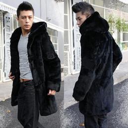 cappello di pelliccia di visone Sconti Autunno inverno uomo cappottato cappotto termico addensare faux fur coat uomo in pelle di visone capelli cappotto di pelliccia uomo jaqueta de couro plus size