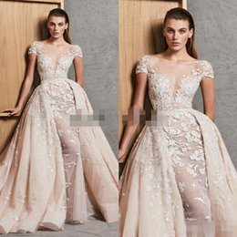 Wholesale Zuhair Murad Wedding Dress Short - 2018 Zuhair Murad Wedding Dresses With Detachable Skirt A Line Lace Beaded Overskirt Bridal Gowns Short Sleeves Appliqued Vestido De Novia