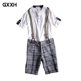 Wholesale Plus Size Vertical - Men's Gray Plaid   Black Vertical Knee Jumpsuit Slim Sling Workwear Men's Summer Thin Jeans Strap Beach Shorts Size 28-34 36 38