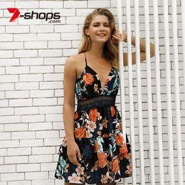 f588b57be 7-lojas das mulheres sem encosto vestido com cordão ruffles túnica vestidos  com decote em v cinta rendas verão praia sem mangas feminino mini vestido