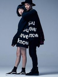 Wholesale Long Dance Sweaters - 2018 autumn and winter male and female stars with the letter printed black long sweater hip-hop street dancing young and long sleeves leisur