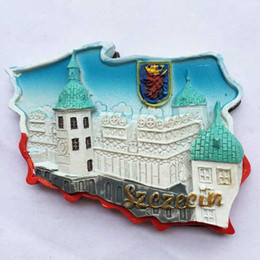 Wholesale Handmade 3d Stickers - Handmade Painted Poland Featured Maps 3D Resin Fridge Magnets World Tourism Souvenirs Refrigerator Magnetic Stickers