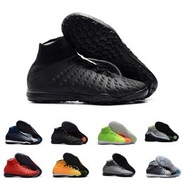 Calcetines de fútbol negro anaranjado online-Calcetines baratos zapatos de fútbol para hombres Hypervenom X Proximo II DF TF alto tobillo negro naranja cojín de aire zapatos de fútbol size39-45