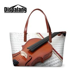 Wholesale Violin Brands - Drop Shipping Women Fashion Handbags For Shopping Pretty Violin Pattern Ladies Casual Totes Bag Musical Note Brand Designer Top-handle Bags