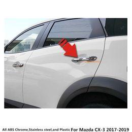 porte chaude Promotion Vente chaude Pour Mazda CX-3 CX3 2017 2018 2019 voiture Styling couvercle du corps d'autocollant protéger détecteur cadre de bâton lampe garniture ABS chrome poignée de porte 8pcs