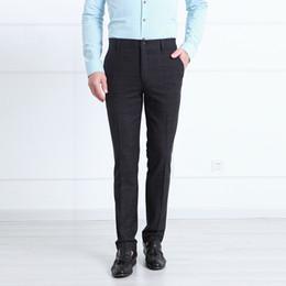 Wholesale Groom Trousers - Pre Sale Mens Dress Pants Formal Slim Fit Fashion Suit Business Pant Plaid Man Suits Trousers Wedding Groom Prom Trouser