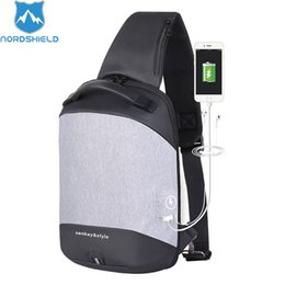 2019 cargar billetera Nordshield Hot-selling Men Fashion Chest Bag Bolsos de gran capacidad USB Charging Travel Bag Causal Phone Wallet Pouch Bags cargar billetera baratos