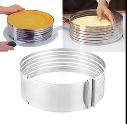 2019 einstellbarer kuchenschneider Einstellbare Schicht Runde Ring Kuchen Mousse Slicer Form Bakerware Runde Brot Kuchen Schneider Cutter Form Kuchen Ring Werkzeuge 9,5-12 Zoll KKA5027 rabatt einstellbarer kuchenschneider
