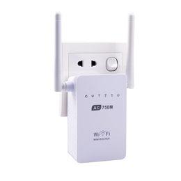 Antena 5g on-line-AC750 Dual Band Extensor de Alcance Wi-Fi Gigabit WiFi Repetidor Router AP Booster 2 Antenas Externas 750 Mbps 2.4G / 5G para Quaisquer Roteadores