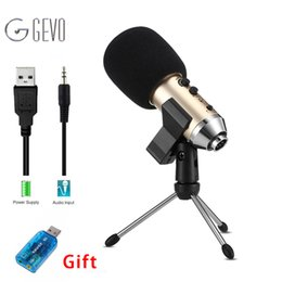 Wholesale Karaoke Laptop Microphone - GEVO MK-F500FL Professional Microphone Wired Recording USB 3.5mm Condenser Microphones With Tripod For Computer Karaoke Laptop