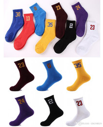 Wholesale running numbers - Free DHL Outdoor Sports Basketball Numbers Socks Anti-Slip Breathable Male Socks Adults Running Football Socks for Kobe James G500S