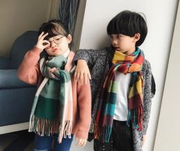 Wholesale Wool Scarf Large - Fashion Boys Girls Kids Wool Scarf Baby Children Warm Winter Long Plaid Cashmere Large Tassel Shawl Gifts