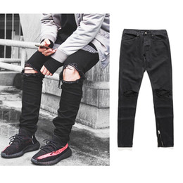 Alta calidad 2017 moda para hombre jeans agujero pantalones de longitud  completa cremallera fresco jogger negro daño hip hop estrella de rock  pantalones ... 659d58d93ec