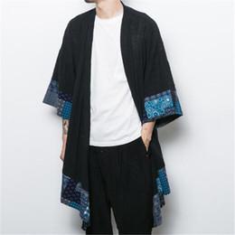 2019 cardigan chal hombres 2018 hombres chaqueta de lino de algodón chaqueta trinchera chaqueta masculina suelta chal largo kimono cazadora outwear rebajas cardigan chal hombres