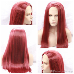 wine synthetic wig Australia - New Sexy Cosplay Burgundy Wine Long Silky Straight Party Wigs High Quality Heat Resistant Glueless Synthetic Lace Front Wigs for Black Women