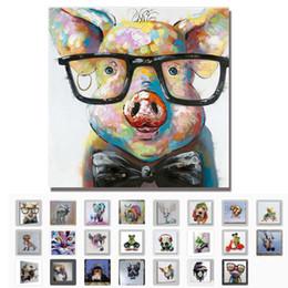 2019 caso di vetri degli animali Dipinto a mano astratta moderna del fumetto animale pittura a olio su tela di maiale di indossare occhiali da parete per soggiorno arredamento per la casa Y18102209 caso di vetri degli animali economici