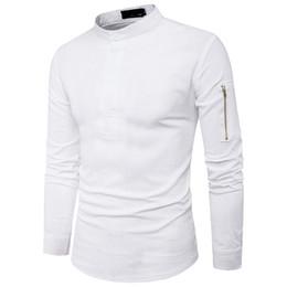 Wholesale Korean Boys Dressing - Slim Shirts Male Korean Style Men Blouse Solid Color Fashion Zipper Sleeve Tide Boys Black White Shirt New Spring Tops Novelty
