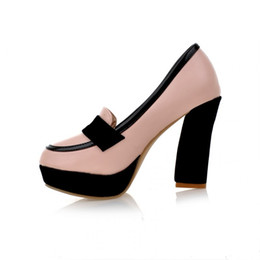 Wholesale Thick Soled Wedding Shoes - 2018 Spring new fashion ultra high heel shoe waterproof platform thick sole round head women's shoes color model high heels Korean shoes