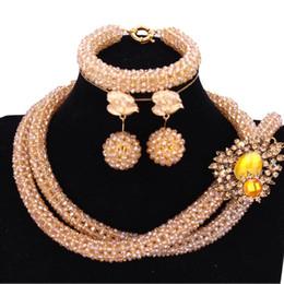 свадебные ювелирные изделия с шампанским Скидка 4UJewelry золото шампанское Дубай ювелирные наборы 2 слоя свадебные украшения Индийский ожерелье набор для женщин Кристалл свадебные ювелирные наборы