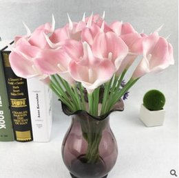 Wholesale silk flowers calla lilies - Hot flower high-grade simulation feel Calla lily artificial flowers bouquet fragrant silk decoration GA72