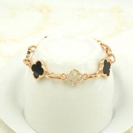 Wholesale Food Gold Leaf - 2016 new fashion friendship Four Leaf Clover bracelets jewelry wholesale shackles Cross bracelets & bangles For women Lucky Gift