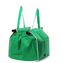 Wholesale Foldable Cart Bag - Reusable Large Trolley Clip-To-Cart Grocery Shopping Bags Portble Green Cloth Bag Soft Foldable Hand bag Tote Handbags