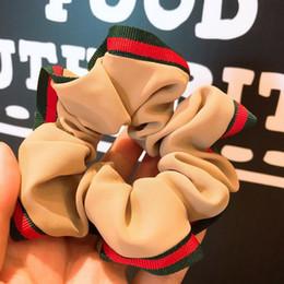 Porta cola online-Raya verde roja Banda de goma para el cabello de lujo Elástico diseñador Pony Tail Holder Accesorio para el cabello de lujo Envío rápido