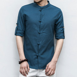 ec0a9b344217 2018 New Fashion Chinese Style Pure Color Mens Long-sleeved Cotton and Linen  Shirts Size S- 5XL Loose Comfortable Elegant Men Shirt Top