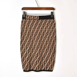 Tunique moulante taille élastique à la taille pour femmes tricotées double lettre F imprimée longueur genou jupe crayon SMLXL ? partir de fabricateur