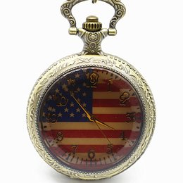 Wholesale American Pocket Watch - New Antique American Flag Dial Quartz Pocket Watch Necklace Pendant Men Womens Gift relogio de bolso