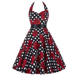 Vintage 50s 60s Rockabilly Summer Dress 2018 Sexy Halter Women Dress Robe Femme Plus Size Pin Up Retro Dresses Vestido от Поставщики платье выпускного вечера королевский синий без спинки