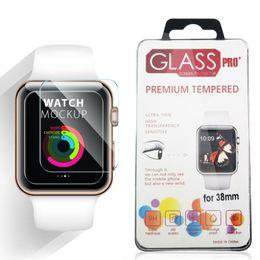Vidrio templado 2.5d 9h online-Para Apple Watch iWatch 0.2mm 2.5D 9H Protector de pantalla LCD de vidrio templado 44MM 38MM con paquete Retal