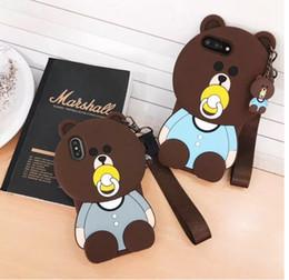 Argentina Caja del oso del pacificador 3D animales de dibujos animados caja linda del silicón del oso marrón del juguete para el iphone x 6 6 más 7 7 más s9 s9plus caja del teléfono celular Suministro