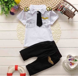 Wholesale Childrens Animal T Shirts - 2018 Childrens Clothes Suits Children Baby Boys Summer Clothing Sets Cotton Kids Tie Gentleman Outfits Child Short Sleeve Tops T Shirt