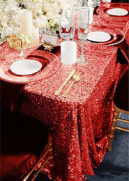 Wholesale Gold Tablecloths Wedding - Champagne Rose Gold Sequined Tablecloth Wedding Party Decorations Vintage Sparkly Table Cloth Custom Made dress fabric High Quality