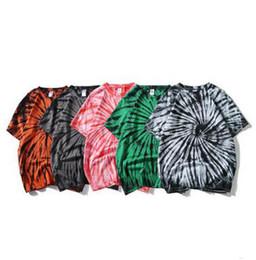 Wholesale T Shirts Tie Dyed - Creative Tie-dye T Shirt For Male Tide Brand Short Sleeve Tshirt Teenager Fashion Streetwear Hip Hop Style Tshirts