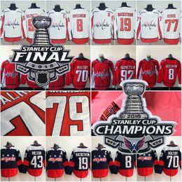 Men 8 Alex Ovechkin 2018 Stanley Cup Champions 43 Tom Wilson 77 Oshie 19  Backstrom 70 Holtby 92 Kuznetsov Washington Capitals Hockey Jerseys 6d4336b46f39