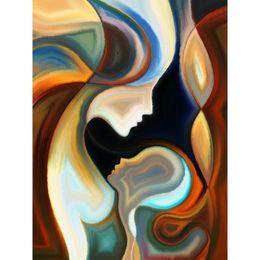 pinturas abstratas retratos Desconto Pinturas a óleo retrato artesanal corpo abstrato com a arte moderna mãe na imagem de tela para decoração de casa