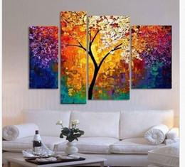 2019 billige kunstfarbe handgemalte Ölgemälde Spachtel Gemälde für Wohnzimmer Wand große Leinwand Kunst billig abstrakten Baum 4 Stück kein Rahmen günstig billige kunstfarbe