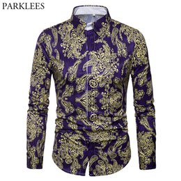 7b1aaf7bcf6 Luxury Brand Men s Paisley Shirt Chemise Homme 2018 Spring New Gold Floral  Print Slim Fit Long Sleeve Dress Shirts Men Camisas
