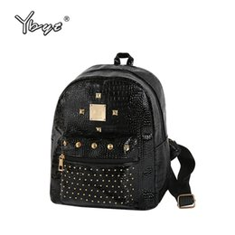 Wholesale Female Computer Bags - YBYT brand 2018 new women casual rivet small rucksack preppy style girls school bag female shopping bags ladies travel backpacks