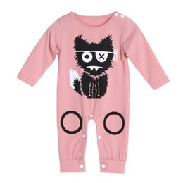 Wholesale Pink Coveralls - Baby Boys Girls Climbing Clothes Tiny Cottons Pringing Cartoon Cats Baby Coveralls 2018 Summer New Fashion Climbing Clothes