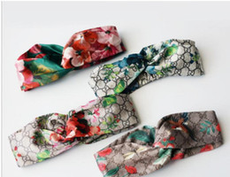 Wholesale christmas hair bands - Designer 100% Silk Cross Headband Fashion Luxury Brand Elastic Hair bands For Women Girl Retro Floral Bird Turban Headwraps Gifts