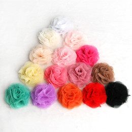 Wholesale Tulle Flowers For Headbands - 120pcs Lot 2.4'' 15colors Artificial Tulle Mesh Chiffon Flower For Gilrs Hair Accessories Handmade Fabric Flowers For Headbands