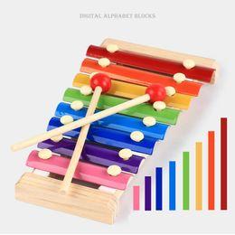 Canada bois à la main frappe la serinette xylophone 8-Note Huit blocs d'alphabet numérique piano enfants bébé jouet musical piano Instrument cadeau DHL 24pcs Offre