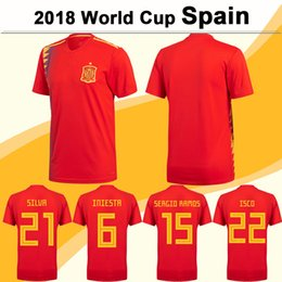 Wholesale Spain National Team - 2018 World Cup Soccer Jersey Spain National Team SILVA ISCO Home Red Football Jerseys MORATA S.ASENSIO Short Sleeve Shirts Mens Uniforms