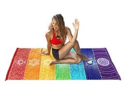 Wholesale India Yoga - Cotton Bohemia India Mandala Blanket 7 Chakra Rainbow Stripes Tapestry Beach Throw Towel Yoga Mat Free Shipping.