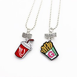 2 Pcs Set Cute Fries Coke Pendant Best Friends Children Necklaces Fashion Jewelry Boys And Girls Birthday Gifts