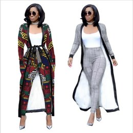 abiti americani cinesi Sconti 2018 New African Free Size Moda pantaloni a righe larghe con cappotto lungo 2 pezzo vestito grande elastico per la signora